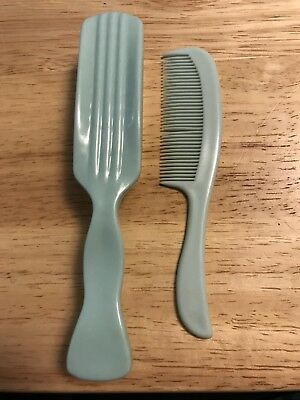 """Vintage Brush Comb Set For Baby 5"""" Long Teal Blue Euc Adorable!"""