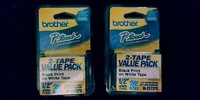 """4 - 2/Pack Brother M231-2PK P-touch Label Tape 1/2"""" Black on White Ptouch Label"""