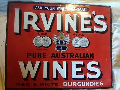 old irvines wines enamel sign in very good condition
