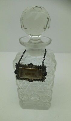 Crystal Decanter Vintage Whisky Cut Glass Square Bottle With Metal Gin Sign