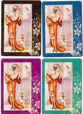 Playing cards swap cards dogs lady modern Wide