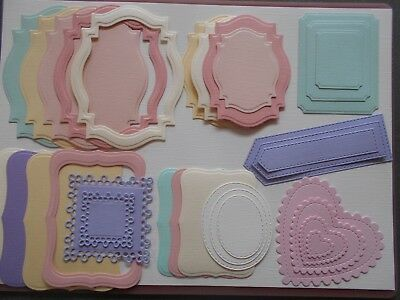 Die cuts - Mats Frames Tags x 30 Pastels Embossed card toppers, embellishments
