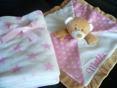 Personalised Baby Teddy Comforter with Blanket Gift Set  Any Name- Blue or Pink