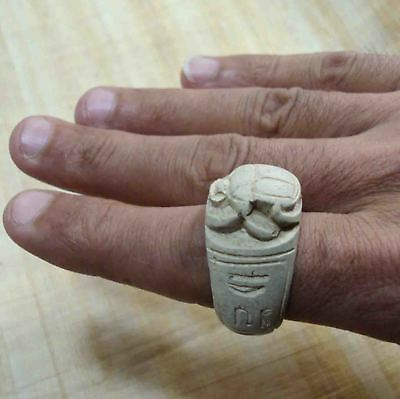 Egyptian Rare Faience Seal Scarab Pharaoh Horus Finger Ring Hieroglyphic #168