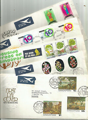 SINGAPORE  1976  Five commemmorative fdc's, sent to Germany