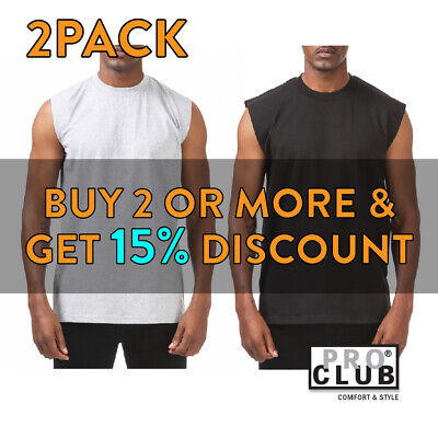 2 Pack Proclub Mens Plain Tank Top Casual Sleeveless Muscle Tee Gym Fitness