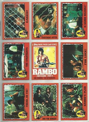 Rambo - Complete Trading Card + Sticker Set (66/22) - 1985 Topps - NM