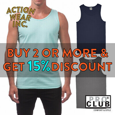 Proclub Pro Club Mens Plain Tank Top Casual Sleeveless Active Cotton Muscle Tee