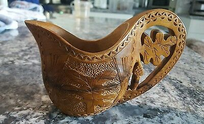 Beautifully Handcarved Handled Decorative Wooden Pitcher, Creamer or Jug.