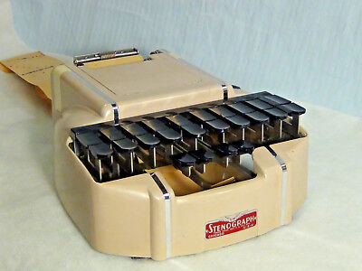 Vintage Adjustable STENOGRAPH Court House Shorthand Machine w/ Case and Stand!