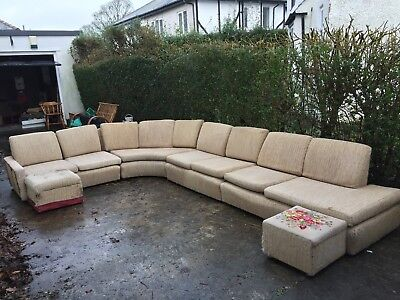 Waring and Gillow 1960s 9 seater Sectional Sofa + 2 Footstools