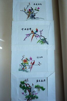 Vintage Chinese Silk Needlework Embroidery Pictures x 4