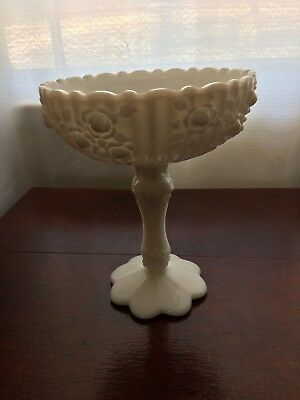 Vintage Fenton White Milk Glass Colonial Rose Pedestal Compote Candy Dish.