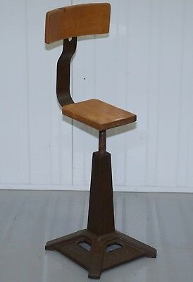 Rare Original Industrail Singer Cast Iron Fully Stamped Square Base Stool Worker
