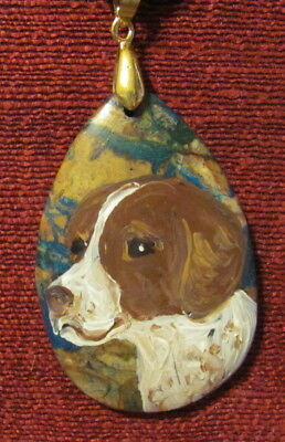 Welsh Springer Spaniel hand painted on teardrop pendant/bead/necklace