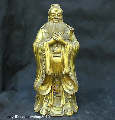 Chinese China Folk Old Traditional Culture Brass Bronze statue Literati Old man