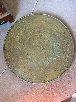 Antique Oriental Chinese Persian Brass Wood Table Top Fire Screen