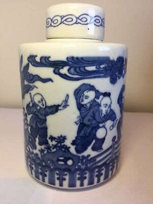 Antique Chinese Blue And White Jar With Cover