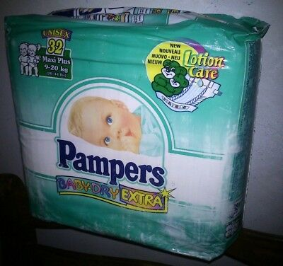 vintage  pampers  baby dry extra  maxi plus 9-20kg 20-44lb 32  diapers