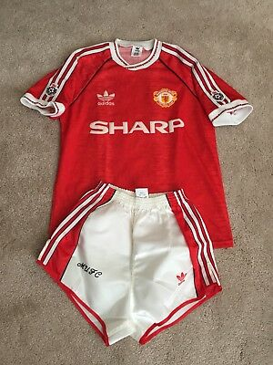 """Manchester United Home 1990/92 Shirt Adults Small (S) 34""""-36"""" Adidas 30"""" Shorts"""