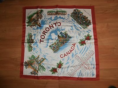 Vintage 60's Toronto Canada Landmarks Acetate Scarf Made in Japan