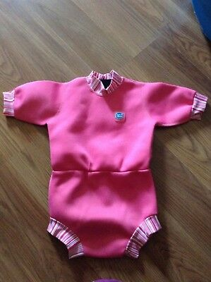 Used Baby Girls Pink Splash About Swimsuit Wetsuit Large UPF 50+