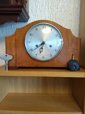 Vintage 1940S Smiths Enfield Wooden Mantel Clock