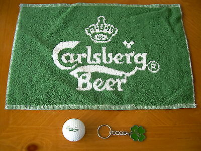 "Carlsberg Beer 10""x15"" Green Bar Towel ,logo Golf Ball & Shamrock Keychain"