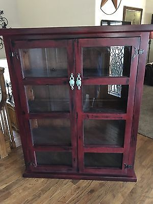 Book Shelf Country Farmhouse Painted Distressed Cabinet Hand Built  Custom