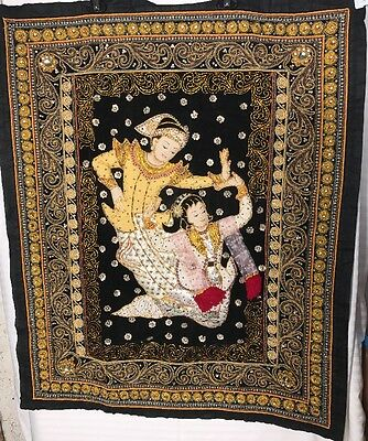 Vintage Thai Kalaga Tapestry hand embroidered wall hanging. 35x29.5