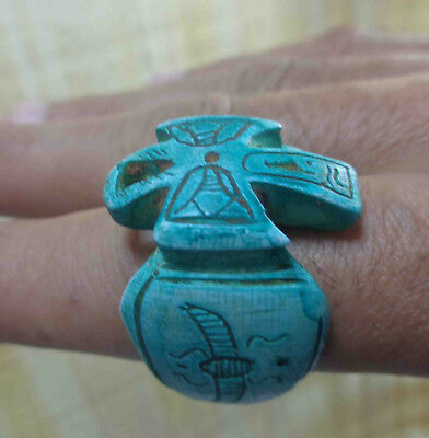 Egyptian Rare Faience Pharaoh Ankh Engraved Finger Ring Seal Hieroglyphic #4