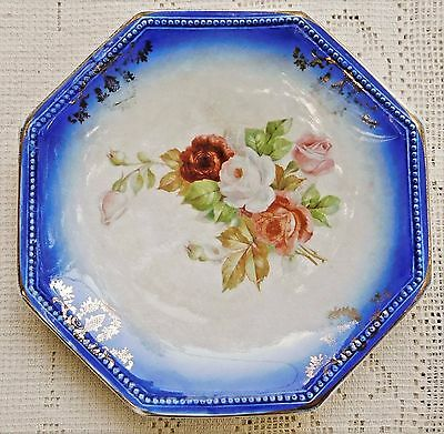 "Antique 1916-1929 La Francaise French China Company Flow Blue Porcelain 7"" Dish"