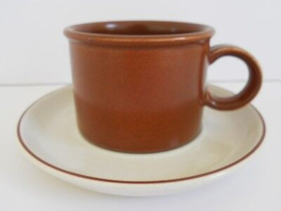 2  MIDWINTER Retro 1970s Vintage DUOS - Cups & Saucers in CLASSIC Brown & Cream