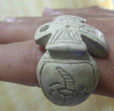 Egyptian Very Rare Faience Ankh Scarab Pharaoh Finger Ring Seal Hieroglyphic #19