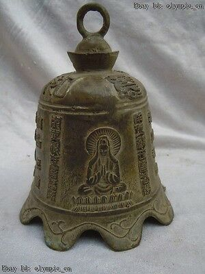 China old bronze copper carved fine Buddhism Kwan-yin Bodhisattva bell statue
