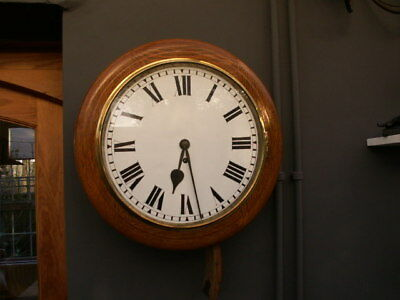 Oak Cased Fusee Dial Wall Clock Restored Dial