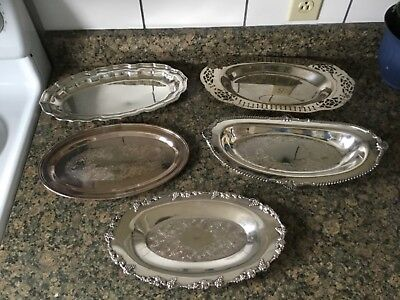 Antique Silverplate Bread Trays, lot of 5 silverplate trays