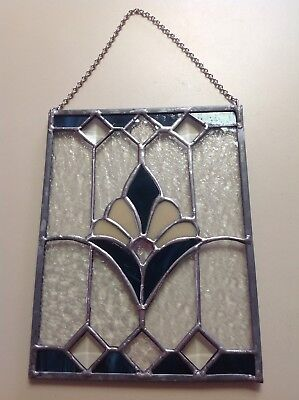 """Vintage Antique Lead Stained Glass Window W/chain 9 3/4"""" X 7 1/2"""""""