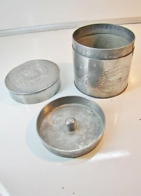 """Antique 4"""" Chinese Pewter * TEA CADDY * with Dragon Engraving"""