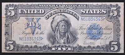 1899 Series Five Dollar Silver Certificate $5 Chief Running Antelope