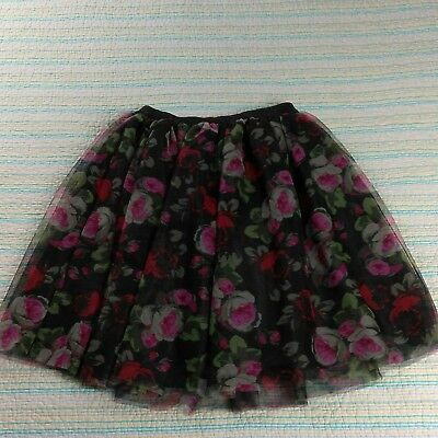 NWT The Childrens Place Girls Sz L 10/12 Black Red Rose Floral Print Tulle Skirt