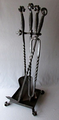 ANTIQUE 19th Century VICTORIAN ERA Hand Forged Iron FIREPLACE TOOL SET w STAND