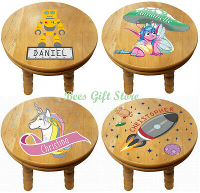 PERSONALISED Solid OAK Wooden CHILDRENS Stool Gift Ideas For NURSERY Bedroom