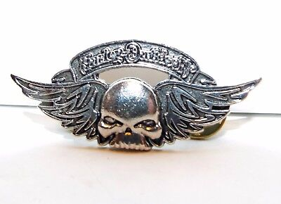 Harley-Davidson Motorcycle Silver Plated Winged Skull Pin Free Shipping In Usa