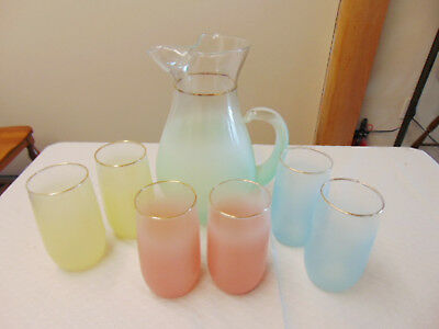 Vintage Mid-Century 7 pc Water Juice Drink Set Pitcher & Glasses Frosted Matte