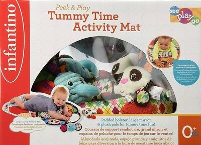 Infantino Peek and Play Tummy Time Activity Mat Kids Toddlers Play Center Pad
