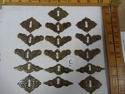 ( C ) 16 mixed  Old Brass Escutcheon Plates Job Lot