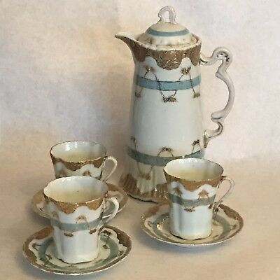 Antique Baby Blue, White and Handpainted Raised Gold Chocolate NipponPot Set