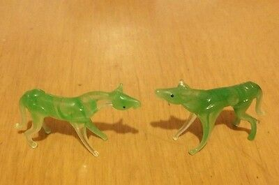 TWO delicate green & clear SPUN GLASS HORSE miniature Figurines