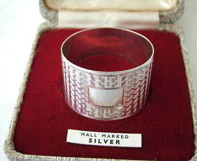 SUPERB ART DECO Sterling Silver BOXED NAPKIN RING ~ H/m 1945 ~ Free of initials